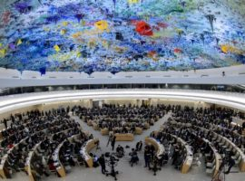 General view at the opening day of the 22nd session of the United Nations Human Rights Council on February 25, 2013 in Geneva. The Council kicks off with widespread abuses in North Korea and Mali the top items on the agenda, along with the crisis in Syria. AFP PHOTO / FABRICE COFFRINI