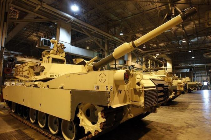An Abrams battle tank during a tour of the Joint Systems Manufacturing Center, Lima Army Tank Plant, in Lima, Ohio, April 23, 2012. REUTERS/Matt Sullivan