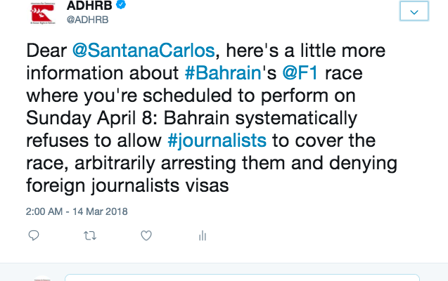 ADHRB's Letter to Carlos Santana ahead of the Formula One Grand Prix