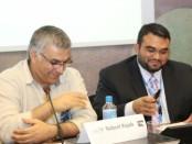 BCHR President Nabeel Rajab and ADHRB Executive Director Husain Abdulla prepare to speak at Concrete Steps