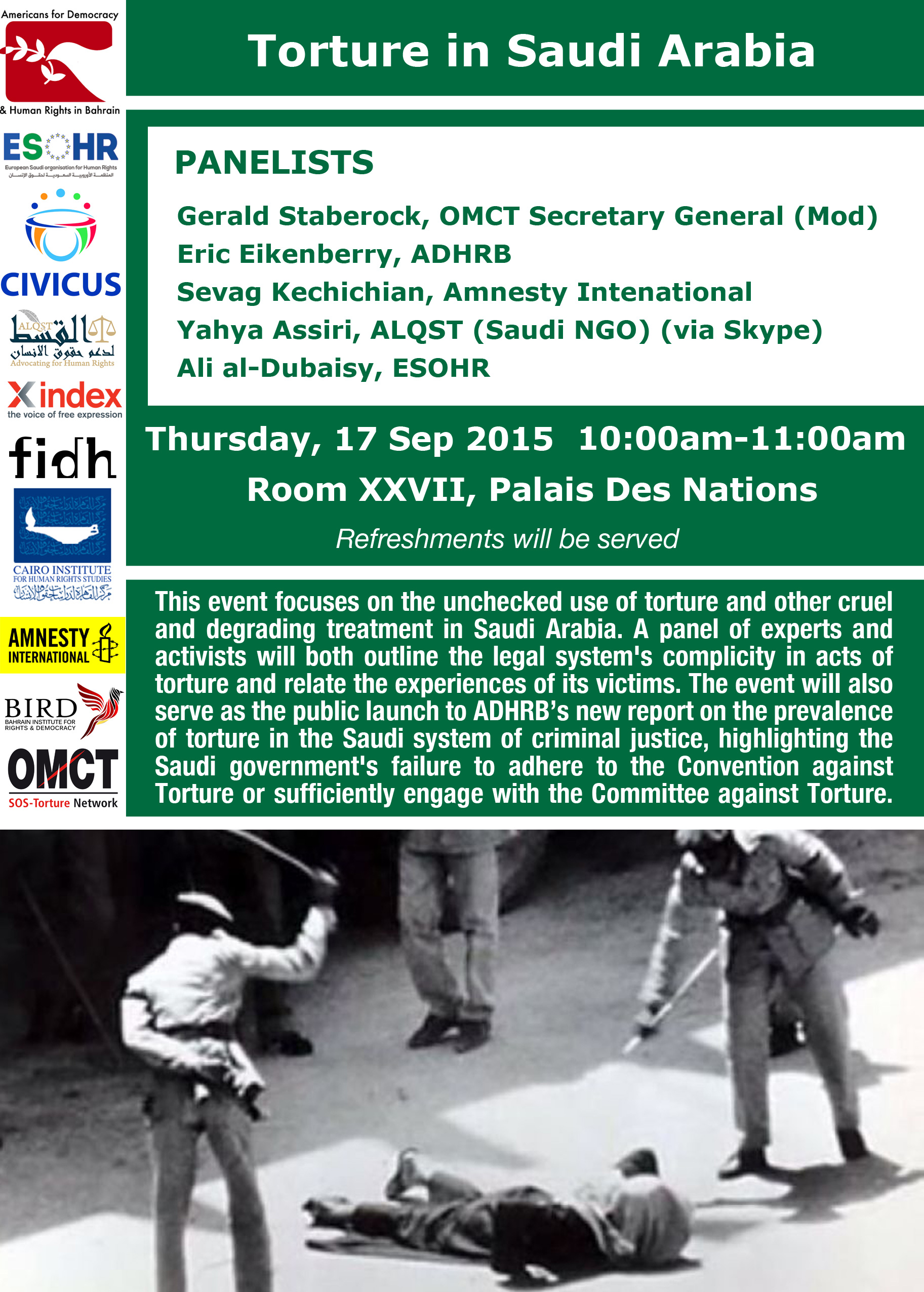 Upcoming Event at HRC 30 – Torture in Saudi Arabia