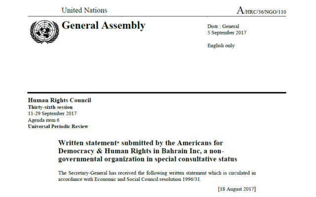 ADHRB submits written statement on the implementation of UPR recommendations in Bahrain to the Human Rights Council