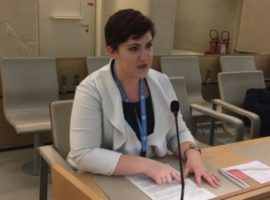 Bridget Quitter speaks at HRC 38 under Agenda Item 5.