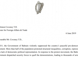 91 Members of the Irish Parliament Send Letter to Foreign Minister Coveney on the Human Rights Situation in Bahrain